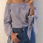Plus Size Women Flare Long Sleeve Loose Off Shoulder Lady Top T-Shirt Shirt Tee
