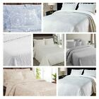 Luxury Embroidered Bedspreads Bed Cover Throws All Sizes Cream & White image