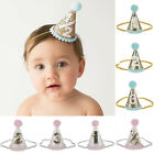 Baby Girls Boys Infant Toddler 1st 2nd 3rd Pom Sequined Birthday Party Cone Hat