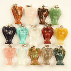 5Pcs Unique Carved Mixed Gemstone Angel Pendant bead 24x15x5mm JQ-3