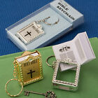 Silver & Gold Holy Bible Key Chain - Religious Christening Wedding Favors 48-96