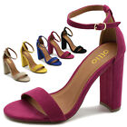 ollio Womens Shoes Faux Suede Simple Ankle Strap Chunky High Heel Sandal