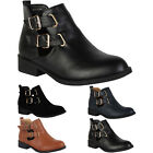 1N WOMENS FAUX LEATHER LADIES CUT OUT BUCKLE FLAT LOW ANKLE BOOTS SHOES SIZE 3-8