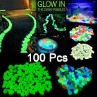 100Ps Glow in The Dark Stones pebbles Rock For Fish Tank Aquarium Garden Walkway