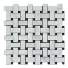 Carrara White Italian (Bianco Carrara) Marble Basketweave Mosaic Tile