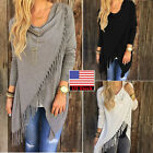 Women's Irregular Tassels Knitted Cardigan Loose Sweater Jacket Poncho Coat Tops