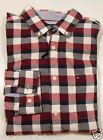 Tommy Hilfiger Men's Classic Fit Button Front Causal Red/Navy Plaid Shirt