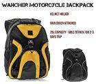 WANCHER Motorcycle Backpack Helmet Holder 25L Cycle Bag Rain Cover Attached