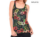 Outer Vision Ladies Vest Top Vintage Summer Floral 'Hibiscus' Flowers All Sizes