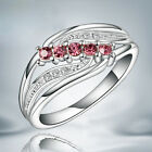 Hot Size7-8 Elegant Lady Plated Hollow Mosaic Five Red Diamond Wing Ring Gift