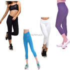 Summer Hot Solid Women Stretch Pants Sports 3/4 Leggings Yoga Slimming Trousers