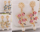 GOLD TONE FAUX PEARL & PALE GREEN, BLUE OR PINK FLOWER DIAMANTE CRYSTAL EARRINGS