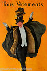 TOUS VETEMENTS CLOTHING MAN FASHION HATS COATS CAPPIELLO VINTAGE POSTER REPRO