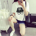 Summer Fashion Casual Loose Shirt Solid Color Girls Tops Blouses Printed T-Shirt