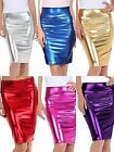 Women Ladies Metallic Shiny PVC Wet Look High Waist Pencil Midi Skirt SizeUK8-22