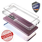 For Galaxy S7 edge / S8 Plus Clear Case Full Tempered Glass impact Hybrid cover