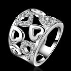 Women Silver Plated Rhinestone Wide Band Cluster Hollow Heart Ring Hot Cool