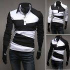 Men Polo shirt T-Shirt Tops Casual Boys Long Sleeve V-Neck Fashion Pullover01