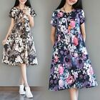 Summer Cotton Vintage Print Dress Casual Loose O Neck Short Sleeve A Line Dress
