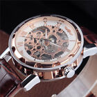 Hand Winding Roman Number Mens Mechanical Watch Silver Skeleton Leather Strap