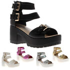 23C WOMENS CLEATED SOLE LADIES SANDALS BUCKLES STRAPS PLATFORM SHOES SIZE 3-8