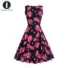 Womens Vintage Floral Style Ladies Print Swing Evening Party Dress UK Size 8-20