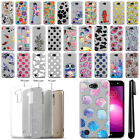 "For LG X Power 2 LV7 5.5"" Slim Sparkling Silver TPU Silicone Case Cover + Pen"