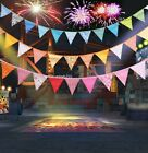 12 Colorful Flags Fabric Bunting Pennant Flags Party Decoration Banner Beautiful