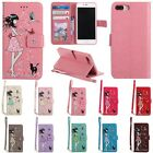 W/Strap Luminous Painted Flip PU Leather Wallet Case Cover For iPhone 7 7Plus