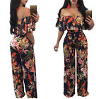 Casual Slash Neck Ruffles Print Women Jumpsuits Off the Shoulder Sashes Top Loos