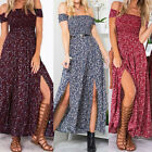 Womens Summer off shoulder Boho Dress Ladies Casual Floral Beach Long Maxi Dress