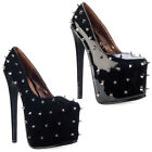 63R WOMENS BLACK SPIKED LADIES CONCEALED PLATFORM STILETTO HEEL SHOES SIZE 3-8