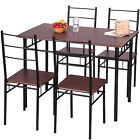 Merax 5 Piece Dining Set Table and 4 Chairs Kitchen Furniture with Steel Frame