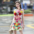 womens MIMI dress skirts decorate flowers printed peony vest A-line back zipper