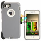 For Apple iPhone 7 / 7+ Plus Defender Case With Clip Screen Protector Grey White