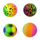 "9"" NEON RAINBOW BALL FOOTBALL GARDEN BEACH TOY SUMMER DEFLATED KIDS COLOUR FUN"