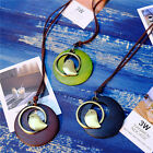 WOMEN ETHNIC CUTE BIRD HOLLOW WOODEN CIRCLE PENDANT SWEATER NECKLACE JEWELRY ACT