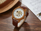 reloj de pulsera Sports New Mens Automatic Mechanical Watch Skeleton Wood Style