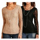L8T3647 Ladies Panhandle Long Lace Sleeve Knit Top With Lace Front NEW
