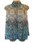 New Atmosphere @ Primark Blue Animal Top Size 8 10 Chiffon Blouse Sheer Summer
