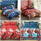 Merry Christmas Single Double Queen Bed Quilt Doona Duvet Cover Set New Red Blue