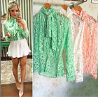 Kyпить UK Summer Womens Casual Long Sleeve Lace Tops Shirt Ladies Loose T-shirt Blouse на еВаy.соm