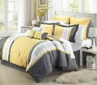 Gray Yellow White Embroidery Comforter Or Curtain Set All  Sizes Linen Plus image