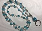 Aqua Ocean Drops Lanyard,Aqua & Crystal Beaded Badge Holder, Breakaway Opt.