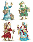 Ceramic Decals Vintage Style International Santas Christmas Holiday  4 Designs
