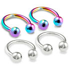 4pcs 16g Circular Barbell Cartilage Triple Helix Navel Hoop Rainbow Tragus 363
