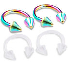 4pcs 16g Horseshoe Flexible Eyebrow Tragus Belly Lip Septum Rainbow Spike 372