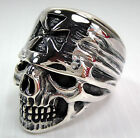 IRON CROSS BANDANA SKULL 925 STERLING SILVER MENS RING ROCK NEW BIKER MALTESE