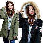 Ladies Fur Lining Hooded Military Coat Winter Warm Jackets Parka Casual Outwear