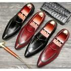 New Pointed Toe Genuine Leather Mens Slip On Formal Dress Loafer Shoes Size @SY